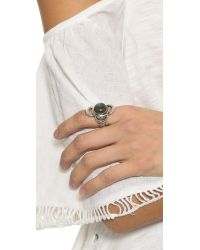 Pamela Love - Metallic Lunar Cross Ring - Silver/labradorite - Lyst
