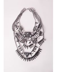 Missguided - Metallic Premium Multi Layered Statement Necklace - Lyst