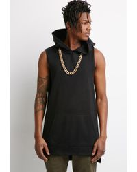 Forever 21 - Black Longline Raw-cut Hoodie You've Been Added To The Waitlist for Men - Lyst