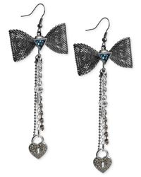 Guess | Multicolor Two-tone Heart And Bow Chain Drop Earrings | Lyst