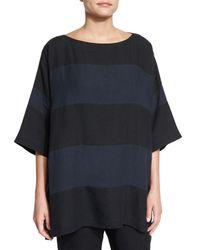 Eskandar - Black Striped Lightweight Linen Top - Lyst
