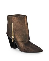 Sigerson Morrison - Ilse Metallic Leather Ankle Boots - Lyst
