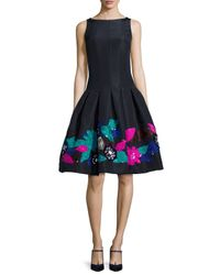 Oscar de la Renta - Black Silk Faille Flower-embroidered Cocktail Dress - Lyst