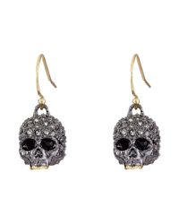 Alexis Bittar | Gray Petite Encrusted Skull Wire Earrings | Lyst