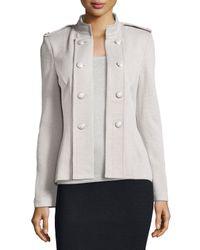 St. John - Gray Santana Knit Double-breasted Jacket - Lyst