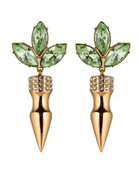 Mawi | Green Crystal Leaf Earrings With Large Spikes | Lyst