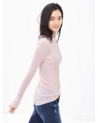 Banana Republic | Natural Ribbed Extra-fine Merino Wool Pullover | Lyst
