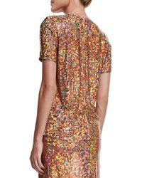 Nina Ricci - Brown Sequin-embellished Short-sleeve Top - Lyst