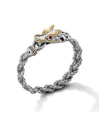 John Hardy - White Dragon Head Bracelet On Small Braided Chain - Lyst