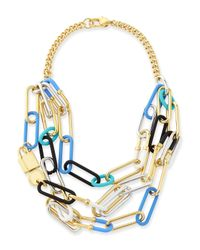 Marc By Marc Jacobs - Multicolor Multi-Row Padlock Statement Necklace - Lyst