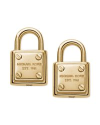Michael Kors - Metallic Goldtone Logo Padlock Stud Earrings - Lyst