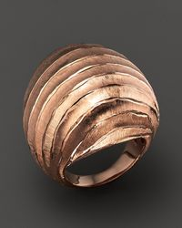 Roberto Coin | Pink 18k Rose Gold Plated Sterling Silver Dome Ring | Lyst