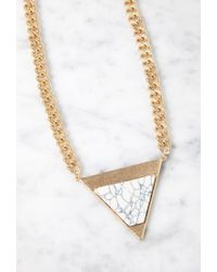 Forever 21 | Metallic Faux Stone Triangle Pendant Necklace | Lyst