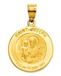 Macy's | Metallic 14k Gold Charm, Saint Joseph Medal Charm | Lyst
