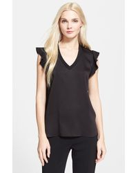 kate spade new york - Black Satin Crepe Top - Lyst