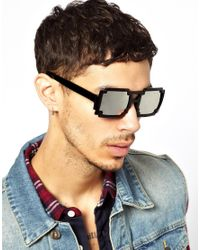 ASOS - Black Sunglasses with Pixel Effect Frame and Mirror Lens for Men - Lyst