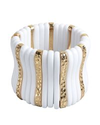 Kenneth Jay Lane | White Acrylic And Gold Metal Plank Stretch Bracelet | Lyst