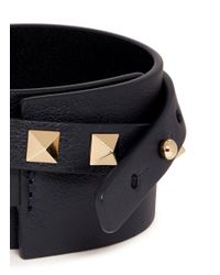Valentino | Blue 'rockstud' Double Wrap Leather Bracelet | Lyst