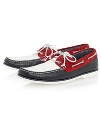 Bertie - Blue Battleship Leather Boat Shoes for Men - Lyst