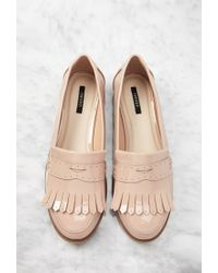 Forever 21 | Natural Fringed Faux Patent Loafers | Lyst
