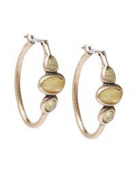 Lucky Brand - Metallic Gold Tone Citrine Hoop Earrings - Lyst
