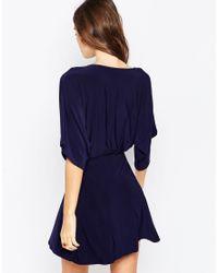 ASOS - Blue Wrap Dress In Crepe - Lyst