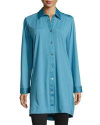 Donna Karan - Blue Long-sleeve Button-front Sleepshirt - Lyst