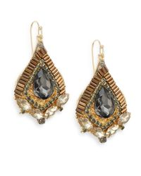 Saks Fifth Avenue | Gray Embellished Pear-drop Earrings | Lyst