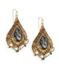 Saks Fifth Avenue - Gray Embellished Pear-drop Earrings - Lyst
