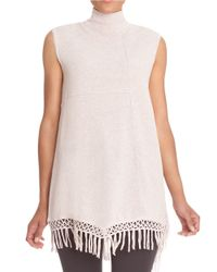 NIC+ZOE | Pink Fringed Sleeveless Turtleneck Sweater | Lyst