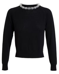 Simone Rocha - Black Beaded Collar Sweater - Lyst