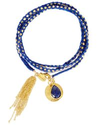 Ashiana | Blue Savannah 24kt Gold-plated Wrap Bracelet | Lyst