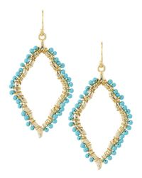 Panacea - Blue Scalloped Marquis Beaded Dangle Earrings Turquoise - Lyst