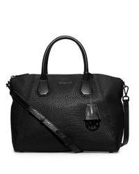 MICHAEL Michael Kors | Black Campbell Large Leather Satchel | Lyst