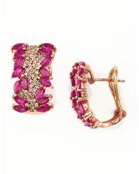 Effy - Metallic Ruby, Diamond And 14k Rose Gold Hoop Earrings, 0.55 Tcw - Lyst