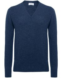 Jules B - Blue V-neck Lambswool Sweater for Men - Lyst