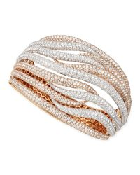 Roberto Coin | Pink 18k White & Rose Gold Fantasia Pave Diamonds Crossover Bangle | Lyst