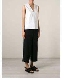 Cedric Charlier - White V-neck Sleeveless Blouse - Lyst