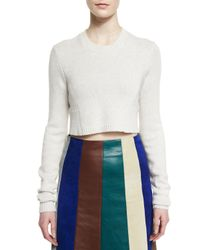 Derek Lam - White Cashmere-blend Long-sleeve Cropped Sweater - Lyst