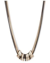 Nine West | Metallic Tri Tone Frontal Slider Necklace | Lyst
