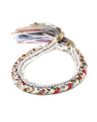 Alyssa Norton | Multicolor Multi Colored Silk Bracelet With Silver Chain And Clear Rhinestones | Lyst