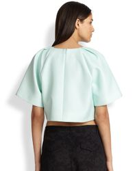 Tibi - Natural Pleated Wide-Sleeved Cropped Top - Lyst