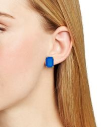 Kate Spade | Blue Emerald Cut Stud Earrings | Lyst