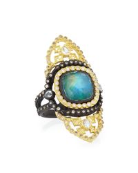 Armenta | Metallic Old World Malachite/rainbow Moonstone Saddle Scroll Ring | Lyst