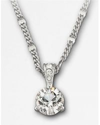 Swarovski | Metallic Round Solitaire Crystal Pendant Necklace | Lyst