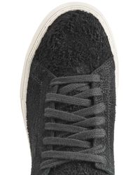 Helmut Lang - Textural Brushed Leather Platform Sneakers - Black - Lyst