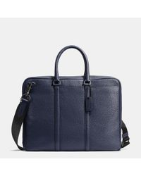 COACH | Blue Metropolitan Slim Brief In Pebble Leather | Lyst