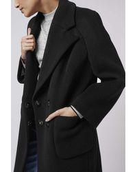 TOPSHOP - Black Textured Melton Car Coat By Boutique - Lyst