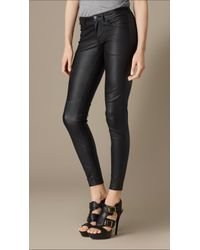 Burberry - Black Skinny Fit Leather Trousers - Lyst