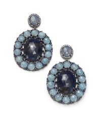 Bavna | Blue Champagne Diamond, Sapphire, Aquamarine & Sterling Silver Oval Drop Earrings | Lyst